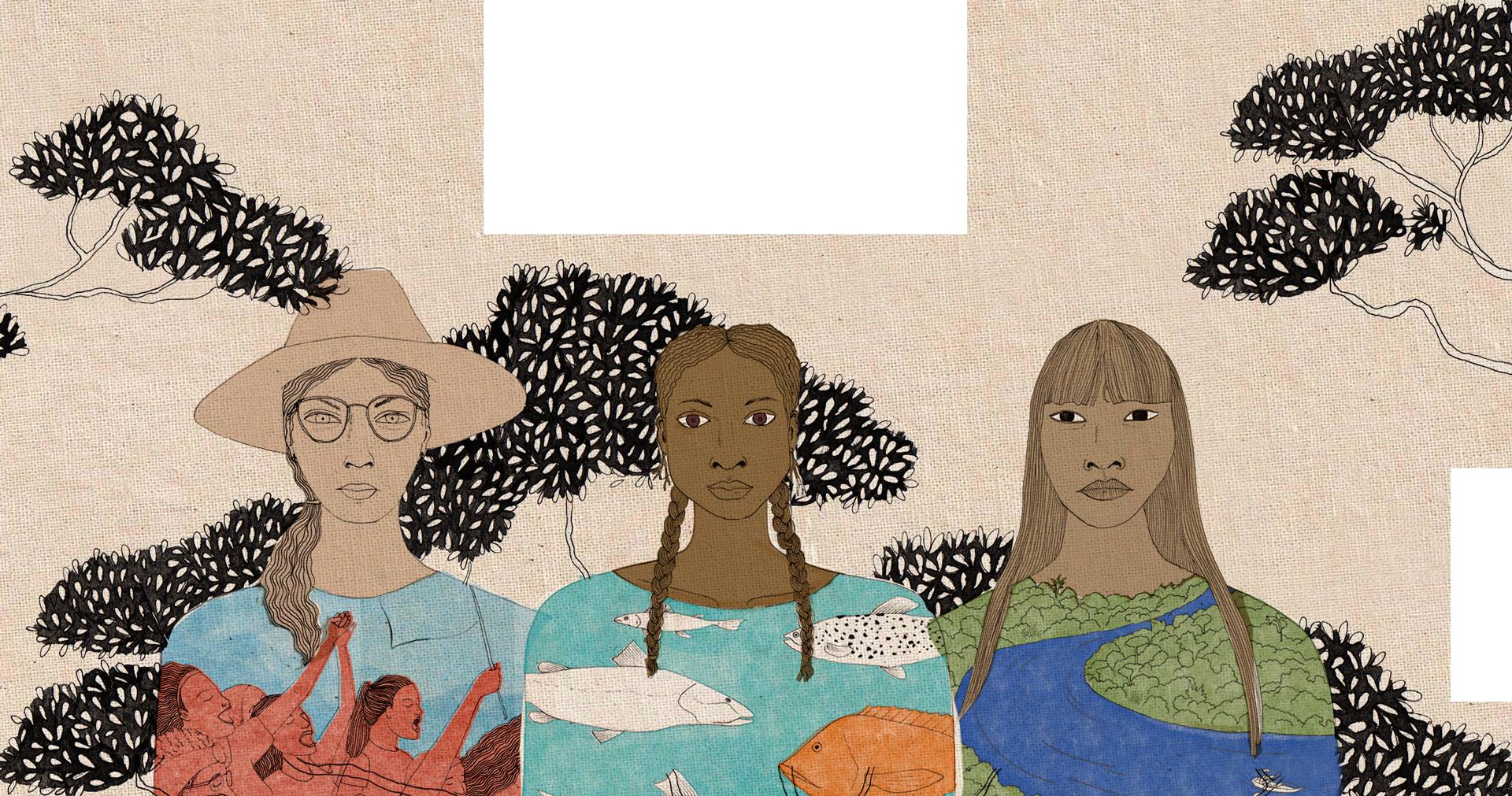 Ilustração de 3 mulheres - 1 agricultora de chapéu com cenas de ativismo no tronco, 1 negra com peixes no tronco e 1 indígena com uma floresta e um rio no tronco.